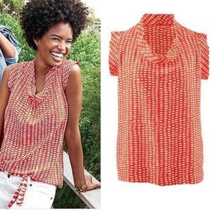 CAbi orange red Madeline spotted blouse small